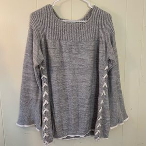 KNOX ROSE Gray Boho Baggy Knit Sweater XXL NWOT LN